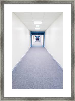 View Along A Bright White Corridor Framed Print by Iain  Sarjeant