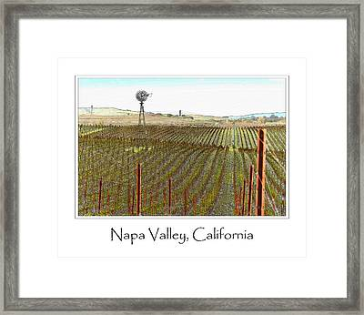Vineyard With Windmill And Blue Sky Framed Print