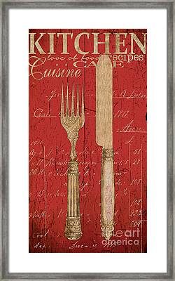 Vintage Kitchen Utensils In Red Framed Print by Grace Pullen
