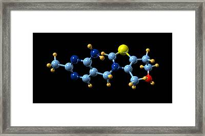 Vitamin B1, Molecular Model Framed Print by Dr Mark J. Winter