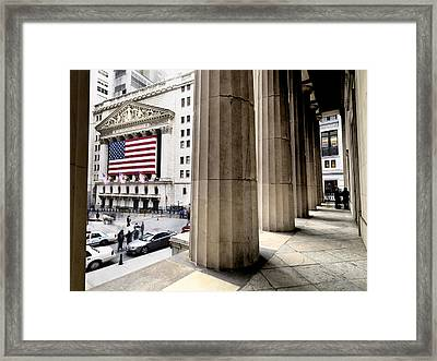 Wall Street And The New York Stock Framed Print by Justin Guariglia