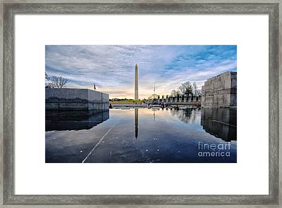 Framed Print featuring the photograph Washington Monument From The World War II Memorial by Jim Moore