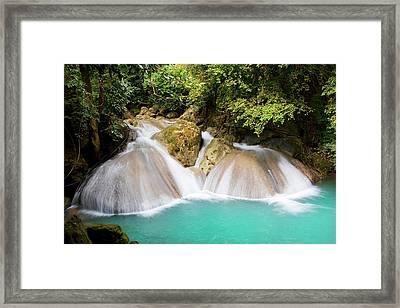 Waterfall In The Jungle Framed Print by Artur Bogacki