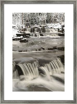 Waterfalls With Fresh Snow Thunder Bay Framed Print