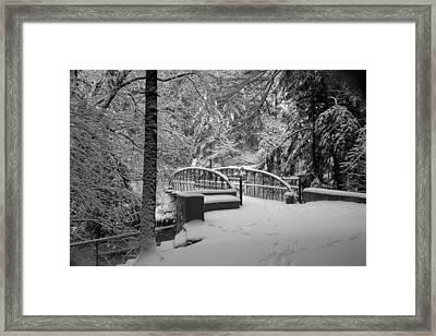 Watkins Glen Gorge Bridge In Winter 2 Framed Print