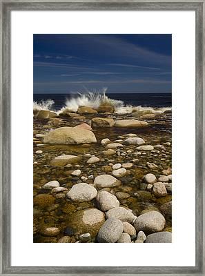 Waves Hitting Rocks, Anchor Brook Framed Print