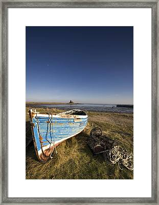 Weathered Fishing Boat On Shore, Holy Framed Print by John Short