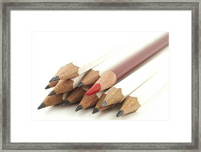 White And Red Pencils Framed Print by Blink Images