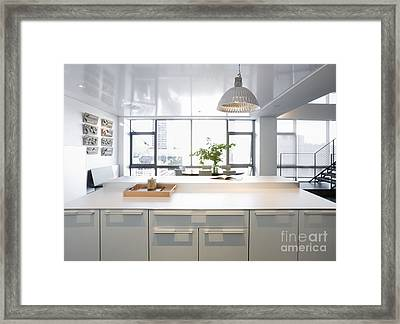 White Counters And Dining Area Framed Print by Andersen Ross