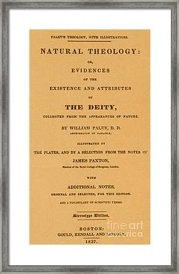 William Paleys, Natural Theology Framed Print by Science Source