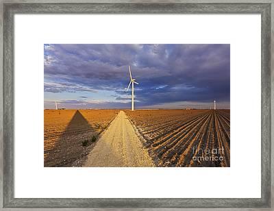 Wind Turbine Shadow Framed Print by Jeremy Woodhouse