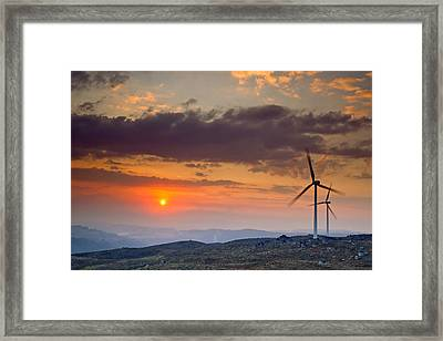 Wind Turbines At Sunset Framed Print by Andre Goncalves