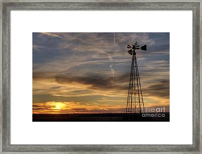 Windmill And Sunset Framed Print