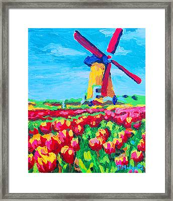 Windmill And Tulips Framed Print