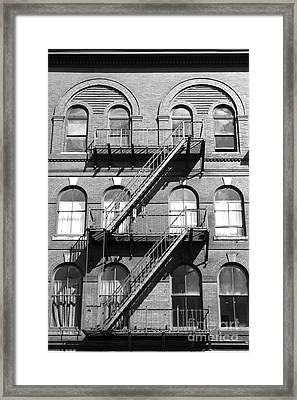 Windows And Fire Escapes Bangor Maine Architecture Framed Print by John Van Decker