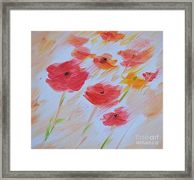 Windy Poppies No. 2 Framed Print by Barbara Tibbets