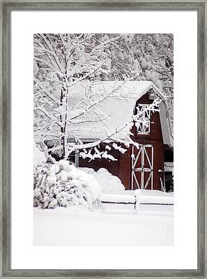 Winter Barn Framed Print by Cheryl Cencich