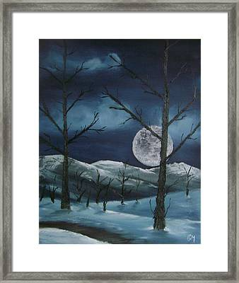 Framed Print featuring the painting Winter Night by Charles and Melisa Morrison
