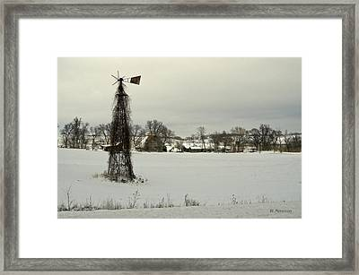 Winter On The Farm Framed Print by Edward Peterson