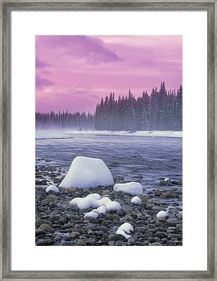Winter Sunset On Bow River, Banff Framed Print by Darwin Wiggett