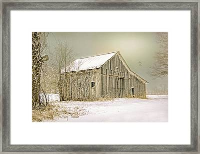 Framed Print featuring the photograph Winter's Barn by Mary Timman