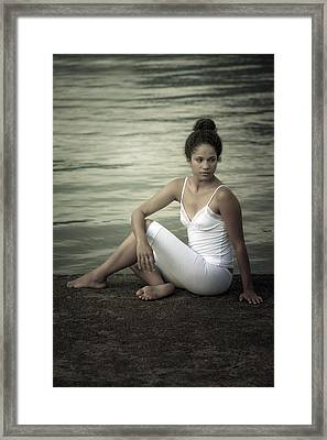 Woman At A Lake Framed Print
