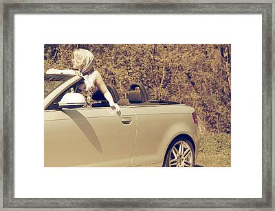 Woman In Convertible Framed Print