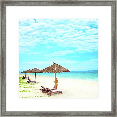 Woman On The Beach Framed Print by MotHaiBaPhoto Prints