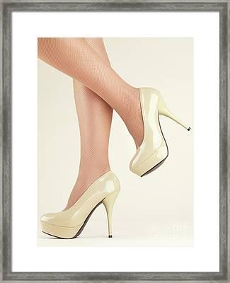 Woman Wearing High Heel Shoes Framed Print