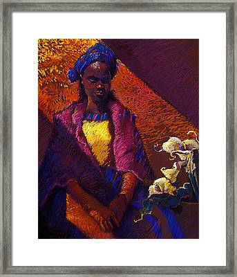 Woman With Calla Lilies Framed Print by Ellen Dreibelbis
