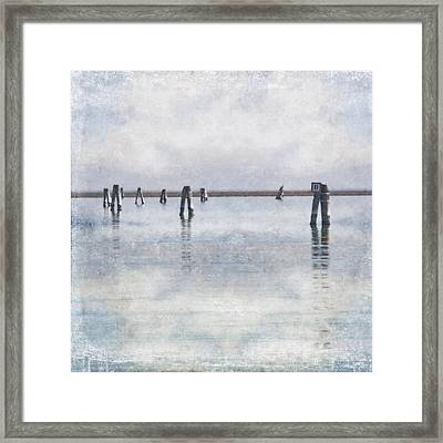 wood piles in the lagoon of Venice Framed Print