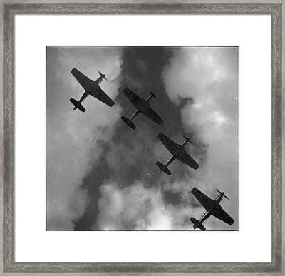 World War II Four P-51 Mustangs Flying Framed Print by Everett