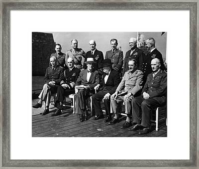 World War II. Seated, From Left George Framed Print by Everett