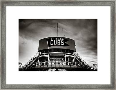 Wrigley Field Bleachers In Black And White Framed Print