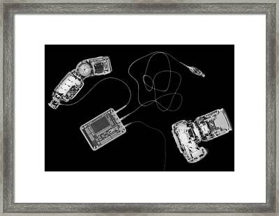 X-ray Of A Digital Camera And Ipod Framed Print