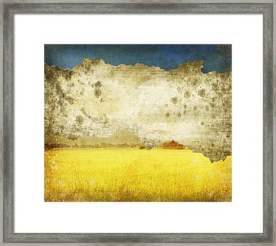 Yellow Field On Old Grunge Paper Framed Print by Setsiri Silapasuwanchai