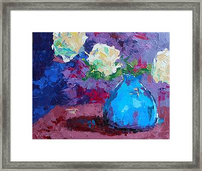 Yellow Roses In A Blue Vase Framed Print