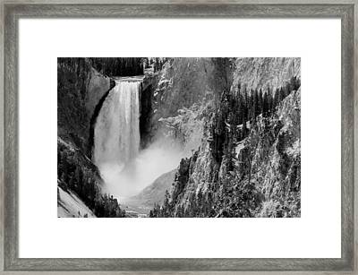 Yellowstone Waterfalls In Black And White Framed Print