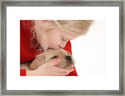 Young Girl With Yellow Labrador Framed Print by Mark Taylor
