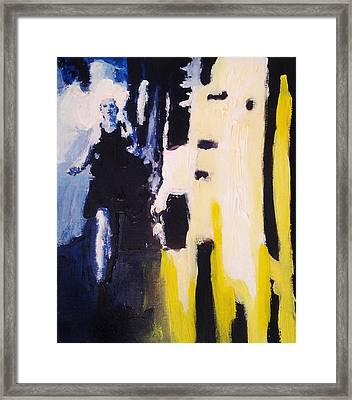 Young Running Female Cityscape In Blue And Yellow Framed Print