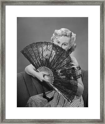 Young Woman Holding Fan, Portrait Framed Print by George Marks