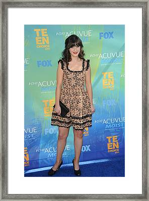 Zooey Deschanel At Arrivals For 2011 Framed Print