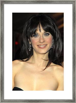 Zooey Deschanel At Arrivals For Failure Framed Print