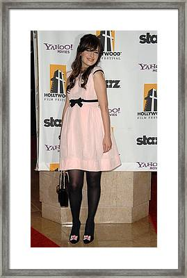 Zooey Deschanel Wearing A Luella Dress Framed Print by Everett
