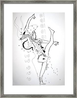 Framed Print featuring the drawing Zulu Dance - South Africa by Gloria Ssali