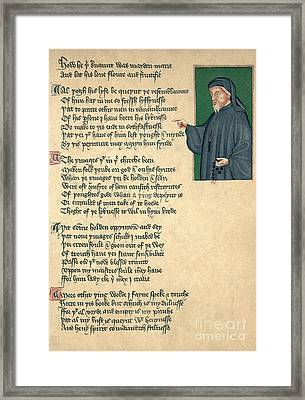 Geoffrey Chaucer Framed Print by Photo Researchers