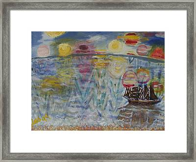 Framed Print featuring the painting 10 Sunsets by Leslie Byrne