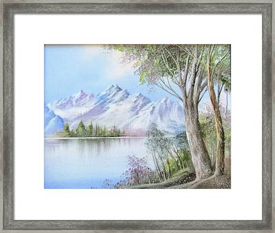 1116b  Mountain And Lake Framed Print by Wilma Manhardt