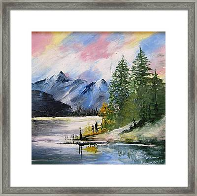 1131b Mountain Lake Scene Framed Print by Wilma Manhardt