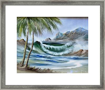 1132b Waterwave Scene Framed Print by Wilma Manhardt